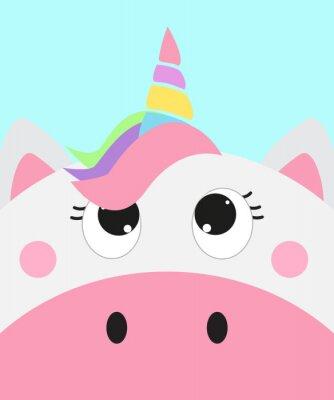 Плакат cute unicorn face, vector illustration