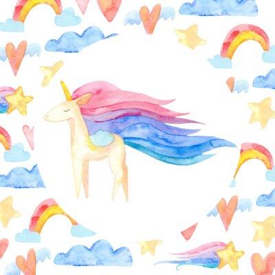 Плакат Cute unicorn horse. Fairytale children sweet dream. Rainbow animal horn character. Frame border ornament square. Aquarelle wild animal,  rainbow, heart, stars, clouds