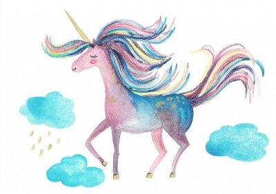 Плакат Cute unicorn on a white background for design