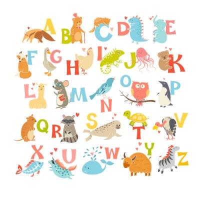 Плакат Симпатичные вектор зоопарк алфавит. Забавный мультфильм животных. Векторные иллюстрации EPS10 на белом фоне. Буквы. Учиться читать