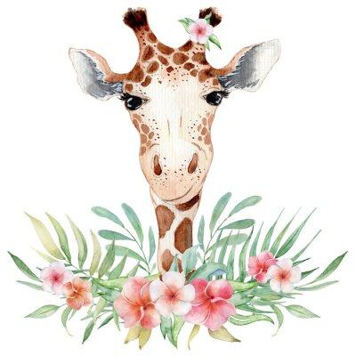 Плакат Cute watercolor geraffe with tropical flowers card