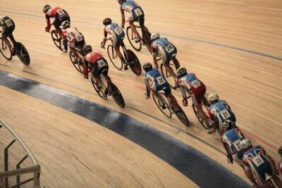 Плакат велосипедистов ездить быстро на виде сверху кривой