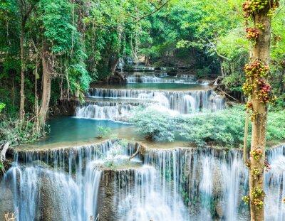 Плакат Глубокий лесной водопад в Хуай Mae Kamin, Канчанабури, Таиланд