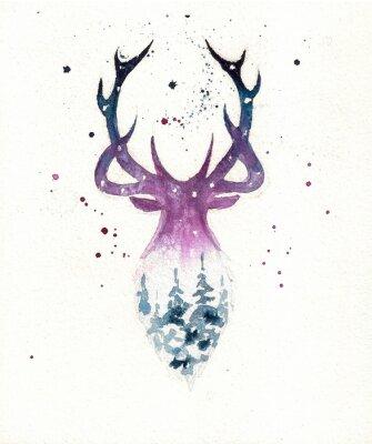 Плакат Deers christmas illustration of watercolor. Greeting card.