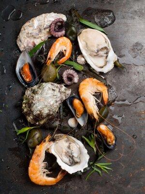 Плакат Вкусные блюда из свежих морепродуктов
