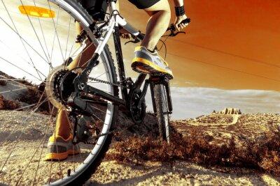 Плакат Deportes. Bicicleta de montaña y hombre.Deporte en exterior