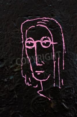 Плакат Фрагмент знаменитой Леннона стене в Праге