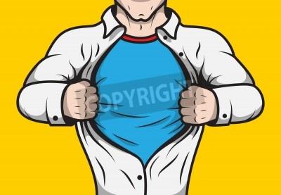 Плакат Под видом героя комиксов взрослый мужчина под покровом открытия его шаблон рубашки