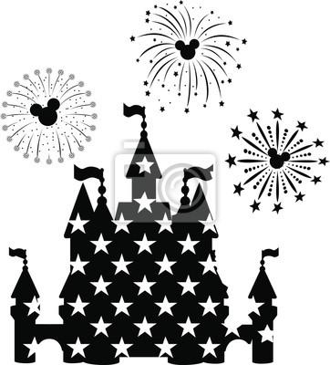 Плакат Disney Castle Fireworks, EPS 10,  disney, new year,  mickey mouse head,