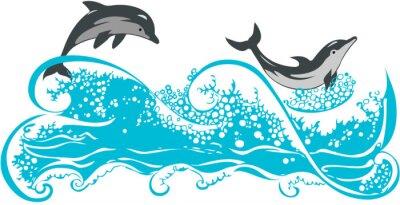 Плакат Дельфины прыжки в волнах