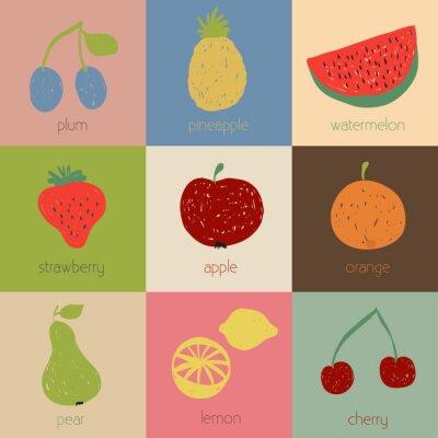 Плакат Doodle иконки фруктовые в ретро цвета