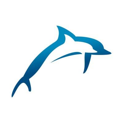 Плакат Двойные дельфины