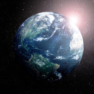 Плакат Земля в космосе, показывая Европу, Азию и Африку