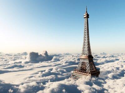 Плакат Эйфелева башня над облаками