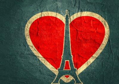 Плакат Эйфелева башня в Париже. Схема силуэт. Градиент лучистого фон