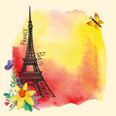 Плакат Эйфелева башня, Акварель пятно, Нарцисс bouquet.Paris карты