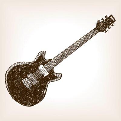 Плакат Электрическая гитара рука вектор стиль обращается эскиз