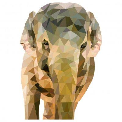 Плакат Elefant AUS Dreiecken geformt Ауф weißem Hintergrund им quadratischen Формат
