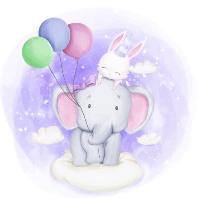 Плакат Elephant and Rabbit Celebrate Birthday