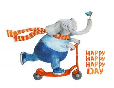 Плакат Слон на скутере с птицей. Счастливый день. Акварель, гуашь Иллюстрация