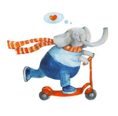 Плакат Слон на скутере с сердцем. Люблю. Акварель, гуашь Иллюстрация