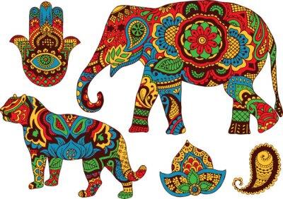 Плакат слон, тигр, Попки и лотоса, ручная роспись в стиле мехенди