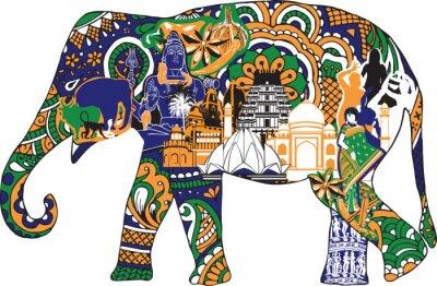 Плакат Слон с индийскими символами
