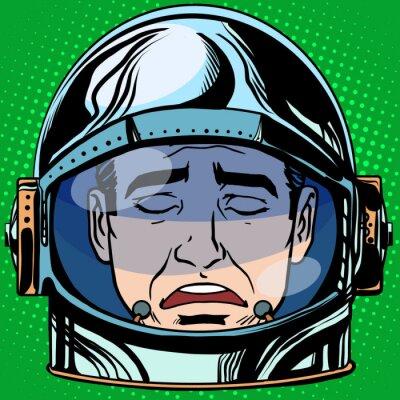 Плакат смайлик печаль эмодзи лицо мужчина астронавт ретро