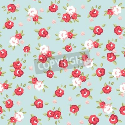 Плакат Английская роза, Бесшовные обои с розовыми розами на синем фоне, векторные иллюстрации