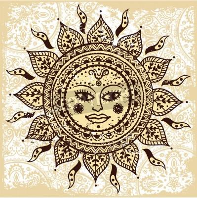 Плакат Этническая декоративные солнце