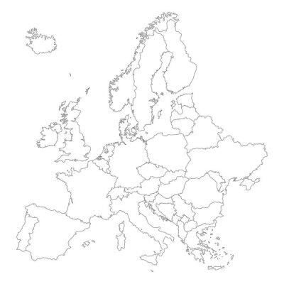 Плакат Европа в белом - Вектор (уровень детализации)