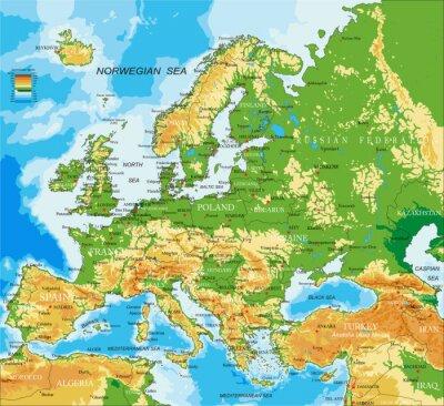 Плакат Европа - физическая карта