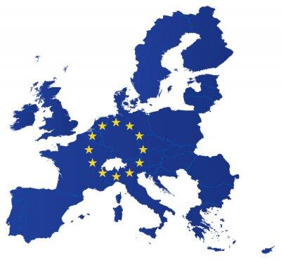Плакат Europe union map with flag