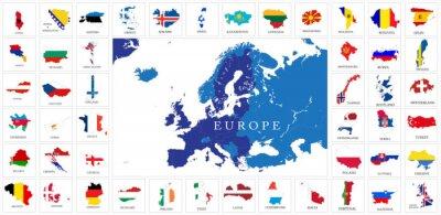 Плакат Европейские страны Карты флаг