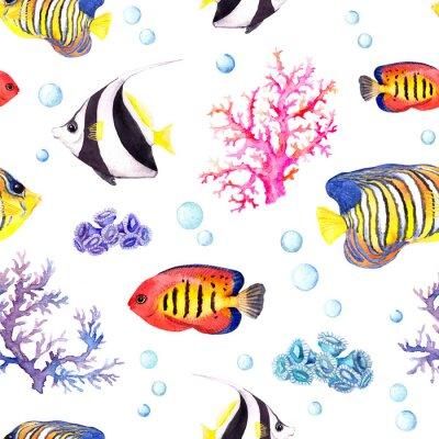 Плакат Экзотические рыбы, морские кораллы и водные блесна. Повторяющийся узор. Акварель