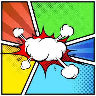Плакат Взрыв облака абстрактного стиле комиксов книги шаблон страницы кадр