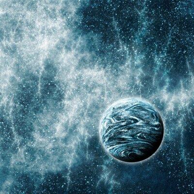 Плакат Экзопланета в искривленном пространстве-времени область