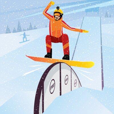 Плакат Экстремальный спортсмен движется вниз с горы на сноуборде
