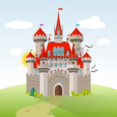 Плакат Сказочный замок. Векторные иллюстрации воображения ребенка. Плоский пейзаж с зелеными деревьями, трава, путь, камни и облака