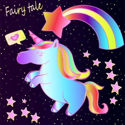 Плакат Сказка - милый неоновый единорог и радуга с сердечками и звездами на фоне темного градиента