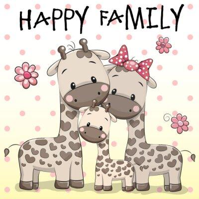 Плакат Семья из трех Жирафы