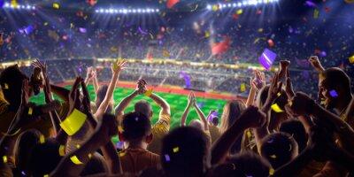 Плакат Вентиляторы на стадионе игру панорама