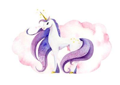 Плакат Fantastic animal - unicorn in pink clouds/ Watercolor hand drawn illustration