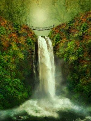 Плакат фантастический водопад и мост