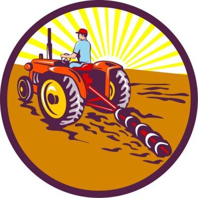 Плакат Фермер на тракторе в круг Ретро