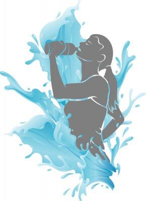 Плакат Female Drinking Fresh Water