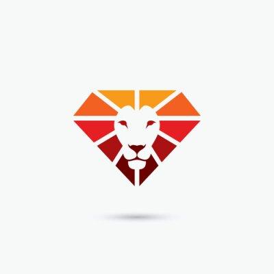 Плакат символ огня алмазов лев