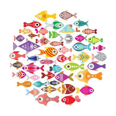 Плакат Рыба иконки круглые