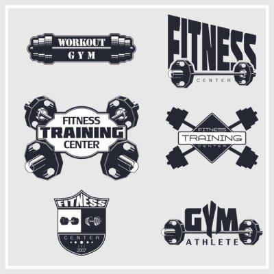 Плакат Fitness, gym, bodybuilding emblems