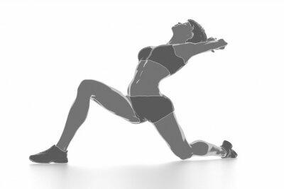 Плакат Фитнес женщина, растяжения на белом фоне изолированные - разогреть концепции